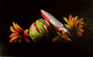 Still Life Apple Murder with Colored Pencils by myshrinkingviolet