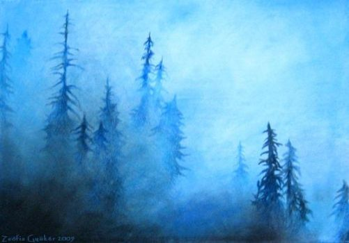 Pinetrees In Fog by ZsofiaGyuker
