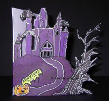 Hand-made card :the haunted manor by Lorellyne