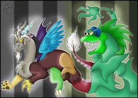 Discord and Jr. the Plant by Marcella-Youko