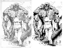 ink test- Marcio Abreu Swamp Thing by Docolomansky