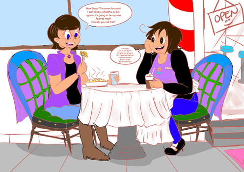 Space Goofs: Danni and Betty Eating (colored) by Lizlovestoons12