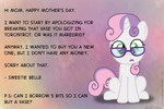 Sweetie Belle's Mother's Day Message by postcrusade