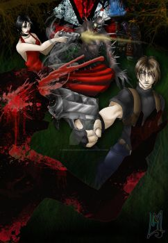Commission: RE4 - Saving Ashley! by drkdragonrage