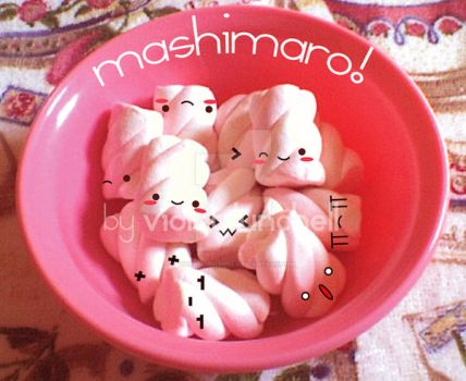 cute marshmallows in a bowl by VioletLunchell