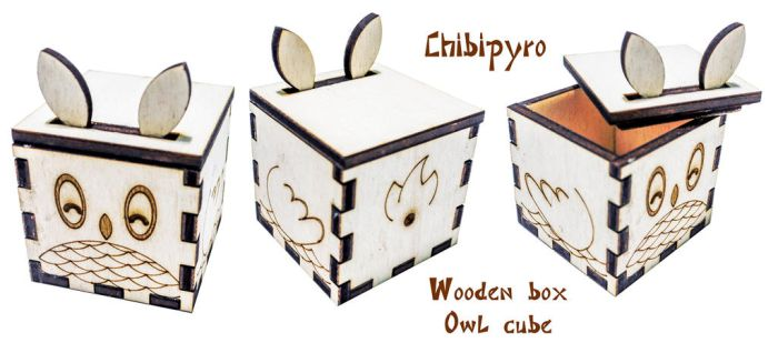 Wooden favor box Owl by ChibiPyro