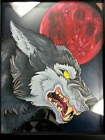 Wolf and Bloodmoon by INK-SL1NG3R