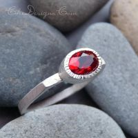 Red Helenite Ring in Sterling Silver by che4u