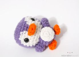 mini purple penguin by tinyowlknits