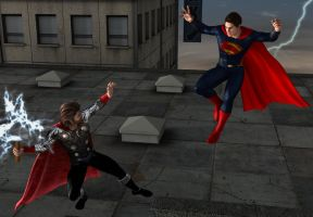 Justice League vs Avengers 3: Steel vs Thunder by kevmann