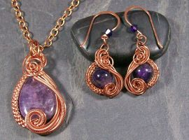 Amethyst and Copper Swish Set by HeatherJordanJewelry