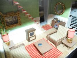 Retro Dollhouse WIP: Living Room Glimpse by kayanah