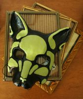Green Skull Wolf Mask by nondecaf