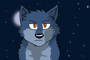 Blue Wolf and Night Sky by DarkestSoul13