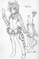 Tiger Girl Pencil Sketch by Kouken