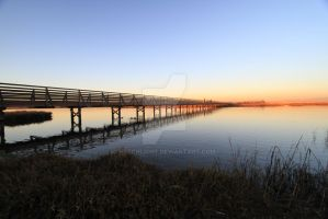 sunset bridge by hjschlicht