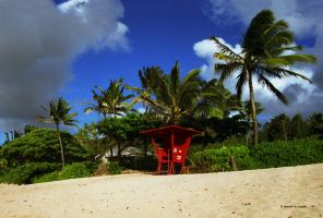 Red Lifeguard Stand by DavidMCoyle