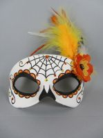 Deluxe Orange Day of the Dead Web Mask by maskedzone