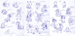 Fakemon plush design contest-- concept sketches! by SilkenCat