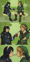 Commission - Link x Lucina - Pocky Game by yinza
