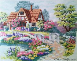 Cross-stitch house by EstonianBeads