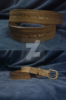 Tooled Leather Belt B001 by mcd-82