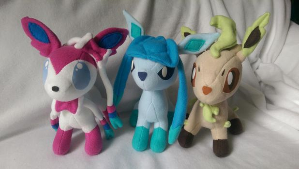 Sylveon, Glaceon, and Leafeon by Jhaub1