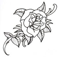 Old School Rose Outline by vikingtattoo