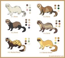 Adoptables: Mustelids by Avanii