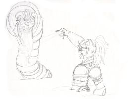 Knight vs Worm type thing by rolandflagg