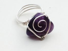 Size 7 Dark Amethyst Stone Wire-Wrapped Ring by FaerieForgeDesign