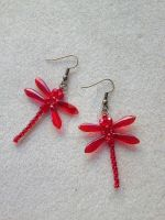 Dragonfly Earrings - Red/Ruby by WhiteMagicPriestess