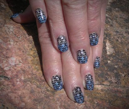 20150410 - Blue Gradient Tips with Black Stamping  by m-everhamnails