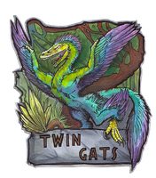 Themed conbadge::Twingatz by BonePileStudio