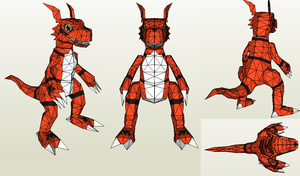 Papercraft - Guilmon WIP by Jyxxie