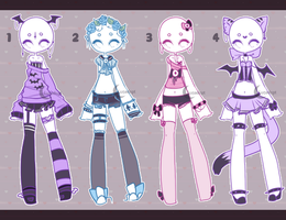 Auction Adopt: Pastel outfits CLOSED by Lunadopt