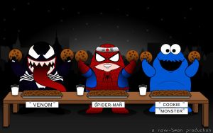 Spiderman Vs Venom Vs Cookie by jaysquall