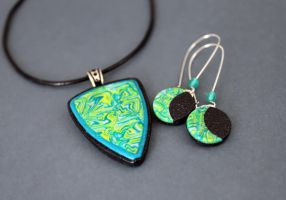 Forest. Jewelry set in polymer clay. by earthexpressions