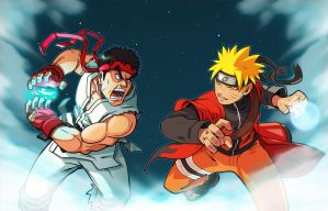 Ryu vs Naruto by Drewmaru