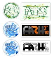 FASH2'03 Pin and Stickers by ganyabubrown