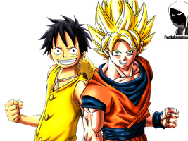 Luffy and Son Goku Crossover by fvckfdaname