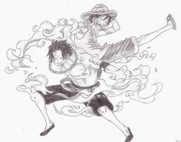 Ace and Luffy by Kello7