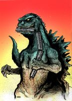 Godzila Eating a Train by MatthewPetz