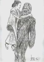 Leia and Chewy by Jimmy-B-Deviant