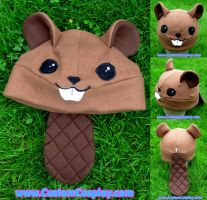Fleece beaver hat with tail by The-Cute-Storm