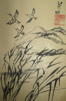 Grues in the Country Lands [JAPANESE CALIGRAPHY] by TheGagaManga