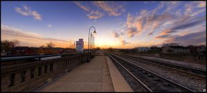 Sunset Train Station by omegach