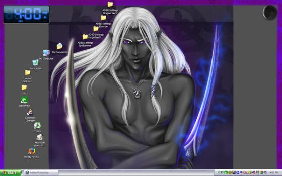 Snarky Smile Drizzt Desktop by tre0220