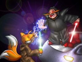 Tails vs. Robotnik by Lord-Kiyo