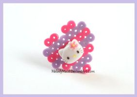 Hello Kitty - Perler Ring by MelodyMaid